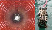 čistěni potrubí vodní řetezovou frézou